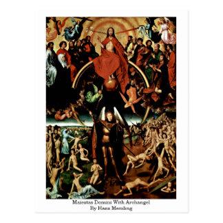Postal Maiestas Domini con arcángel de Hans Memling