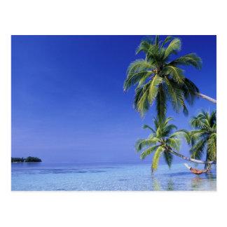 Postal Maldivas, atolón de Felidhu. Hombre que se relaja