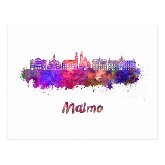 Postal Malmo skyline in watercolor