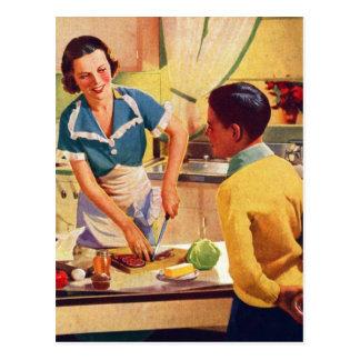 Postal Mamá retra del almuerzo del engaño del buñuelo de