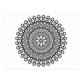 Postal Mandala blanco y negro hermosa para colorear