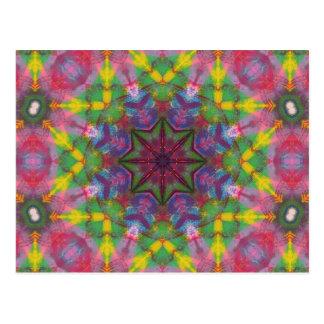 Postal Mandala brillante de la pintura de los colores