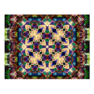 Postal Mandala céltica del vitral del corazón del arco