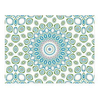 Postal Mandala del océano en azul y gris y blanco