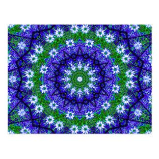 Postal Mandala floral del caleidoscopio del verde azul