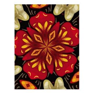 Postal Mandala tropical de las flores y de las mariposas