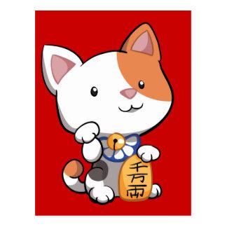 Postal Maneki lindo Neko (gato que tienta afortunado)