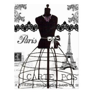 Postal Maniquí blanco negro de la moda de París