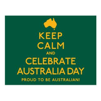 Postal ¡Mantenga tranquilo y celebre el día de Australia!