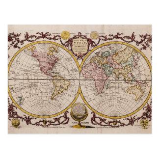 Postal Mapa 1782 del mundo de George Augustus Baldwyn