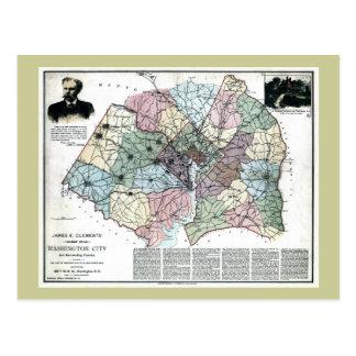 Postal Mapa 1891 de la ciudad de Washington y del país