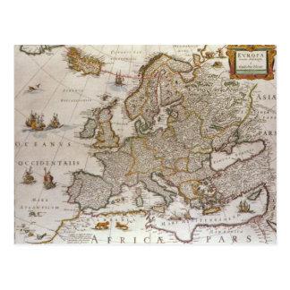 Postal Mapa antiguo de Europa de Willem Jansz Blaeu,