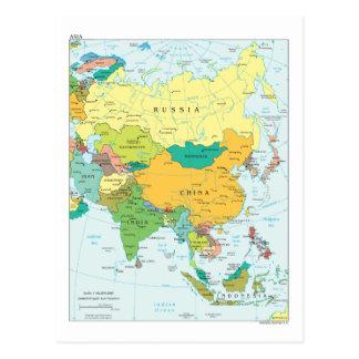 Postal Mapa continente de Asia