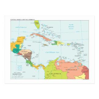 Postal Mapa de America Central y del Caribe