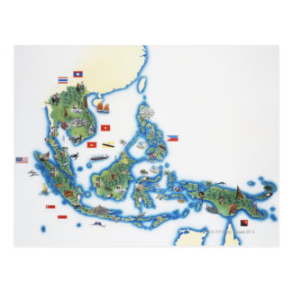 Postal Mapa de Asia del sudeste
