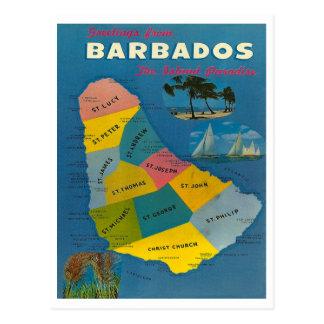 Postal Mapa de Barbados del vintage