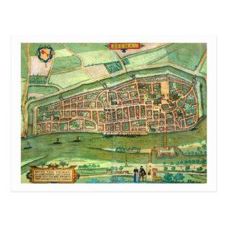 "Postal Mapa de Bremen, de ""Civitates Orbis Terrarum"""