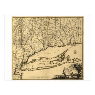 Postal Mapa de Connecticut y de las piezas adyacentes