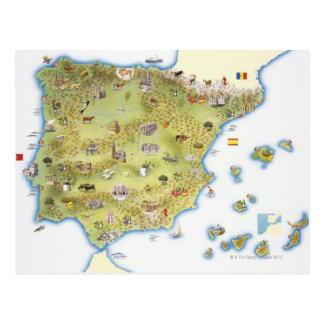 Postal Mapa de España y de Portugal