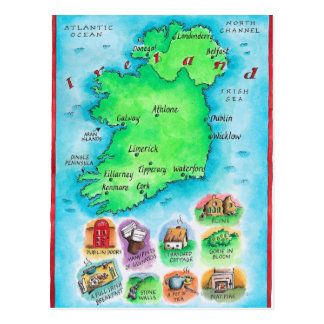 Postal Mapa de Irlanda