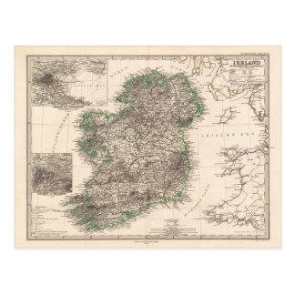 Postal Mapa de Irlanda (1876)