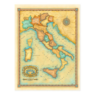 Postal Mapa de Italia