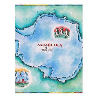 Postal Mapa de la Antártida