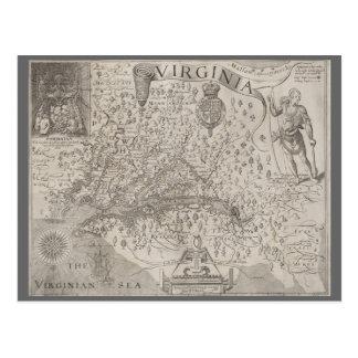 Postal Mapa de la antigüedad de la colonia de Virginia de