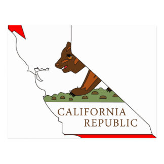 Postal Mapa de la bandera de California