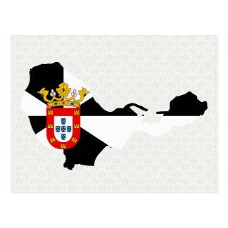 Postal Mapa de la bandera de Ceuta del mismo tamaño