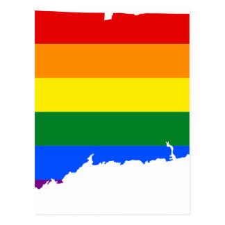 Postal Mapa de la bandera de Connecticut LGBT