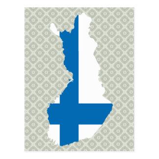 Postal Mapa de la bandera de Finlandia del mismo tamaño