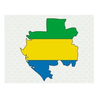 Postal Mapa de la bandera de Gabón del mismo tamaño