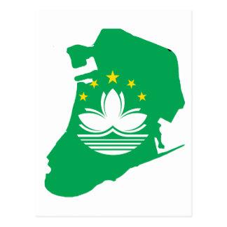 Postal Mapa de la bandera de Macao