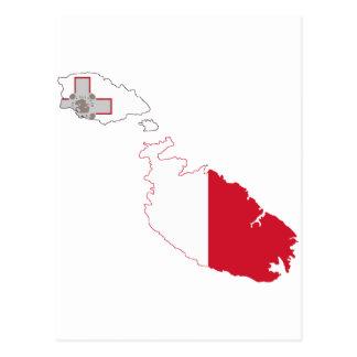 Postal Mapa de la bandera de Malta