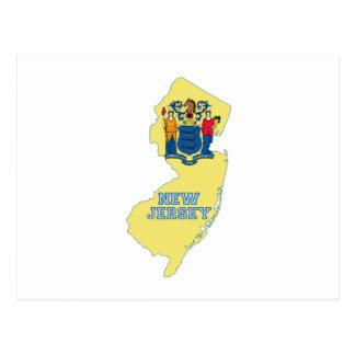 Postal Mapa de la bandera del estado de New Jersey