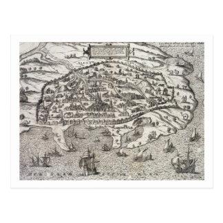 Postal Mapa de la ciudad de Alexandría en Egipto, c.1625