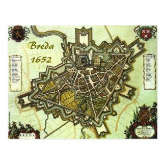 Postal Mapa de la ciudad de Breda, a partir de 1652