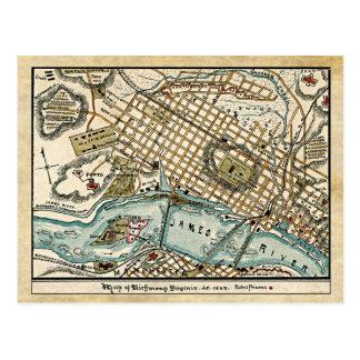 Postal Mapa de la guerra civil de Richmond, Virginia en
