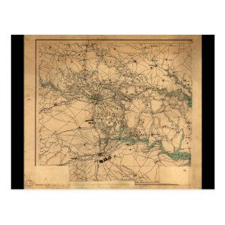 Postal Mapa de la guerra civil de Richmond y de