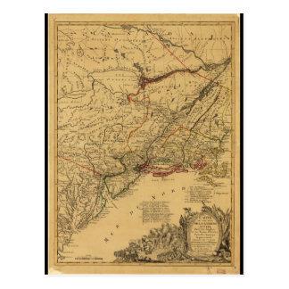 Postal Mapa de la guerra de revolucionario americano por