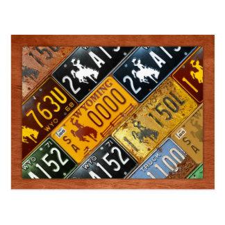 Postal Mapa de la placa del estado de Wyoming por la