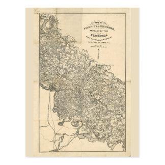 Postal Mapa de la vecindad de Richmond Virginia (1864)
