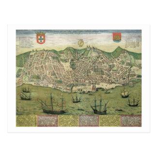 """Postal Mapa de Lisboa, de """"Civitates Orbis Terrarum"""""""