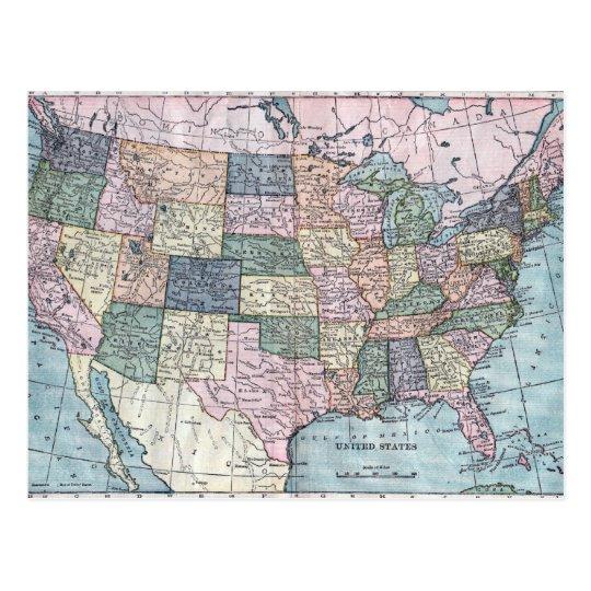 Postal Mapa de los E.E.U.U. del vintage