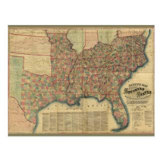 Postal Mapa de los estados sureños de la guerra civil de