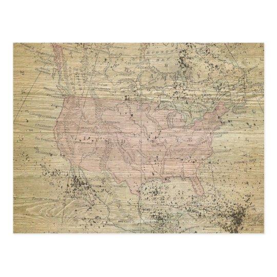 Postal Mapa de madera rugoso de la mirada del vintage