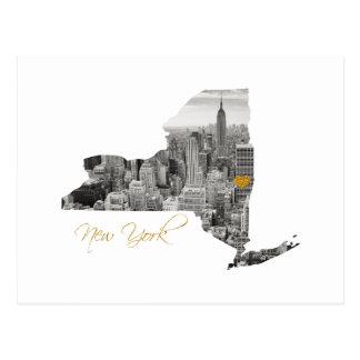 Postal Mapa de Nueva York cortado