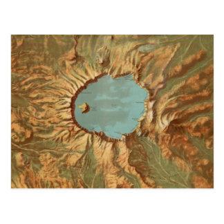 Postal Mapa de Oregon del lago crater del vintage