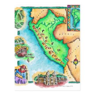 Postal Mapa de Perú